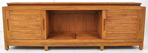 four doors teak Danish cabinet with traditional wood working