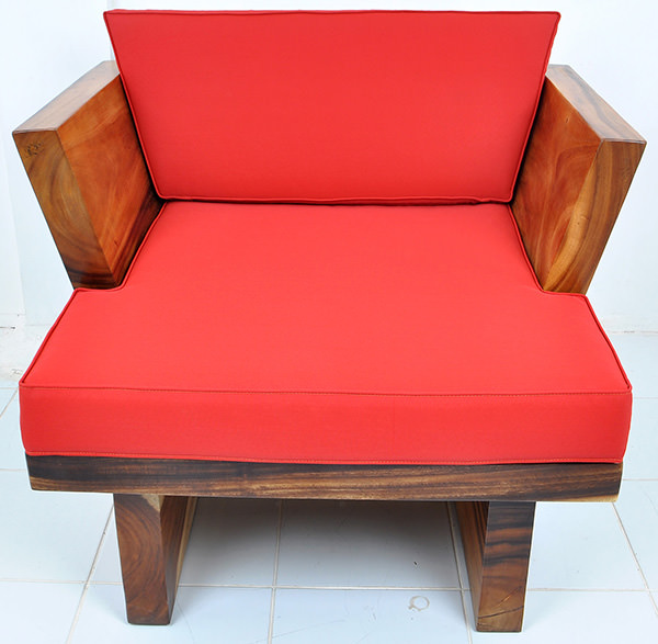 scandinavian suar seat with red upholstery