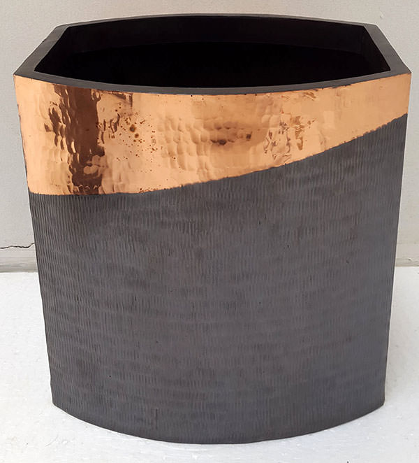 black and pink square copper vase