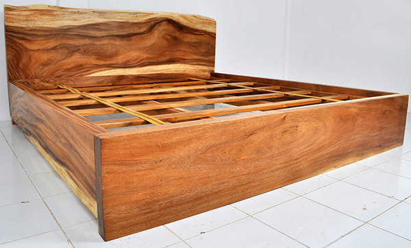raw wooden slabs bed