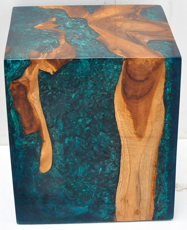 teak root and blue resin with inserts cube stool