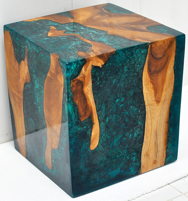 teak root and blue resin with inserts cube stool with a glossy finish