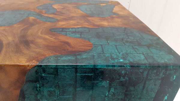 blue resin with drift wood inserts