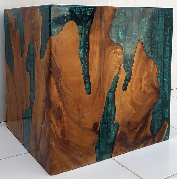 teak root cube stool