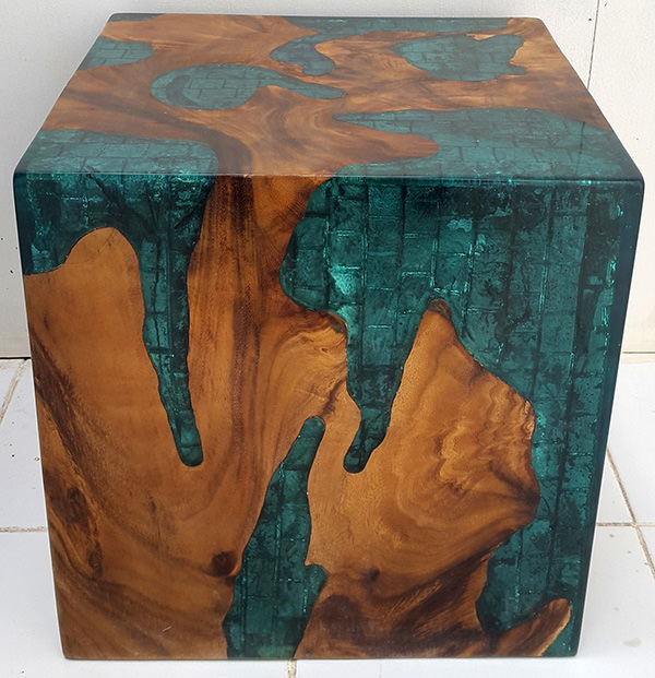 teak root and resin cube stool