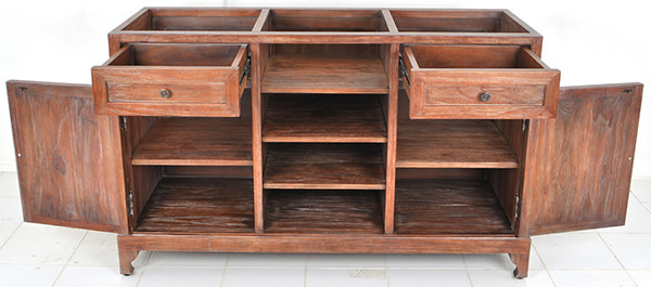 mahogany restaurant waiter station without top and with vintage wood stain finishing