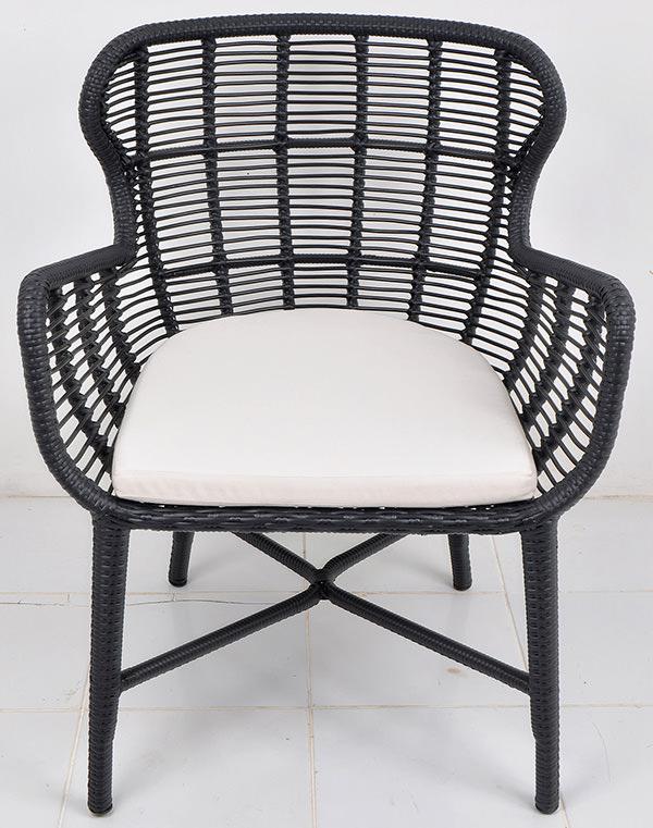 Black weaving Scandinavian armchair with an aluminium frame