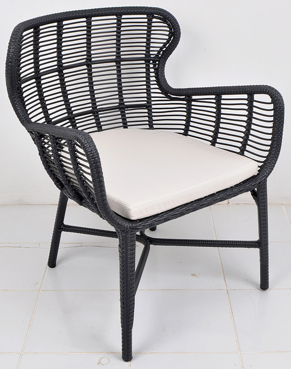 Black weaving Scandinavian armchair with an aluminium frame with garden cushion
