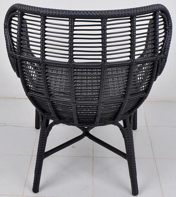 Black weaving armchair with an aluminium frame