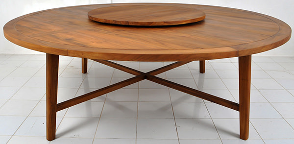 teak dining table with lazy susan