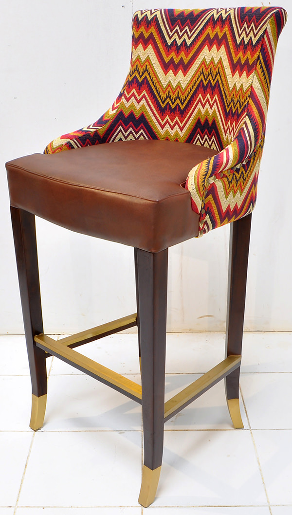 Peruvian restaurant bar seat with pattern fabric