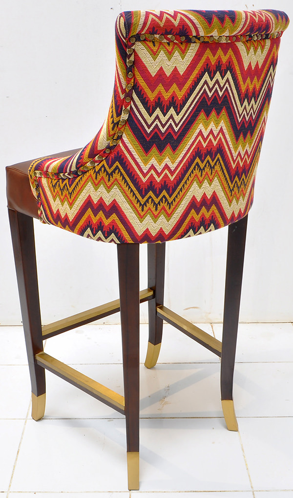 Peruvian restaurant bar seat with pattern fabric and brown leather with vintage finish