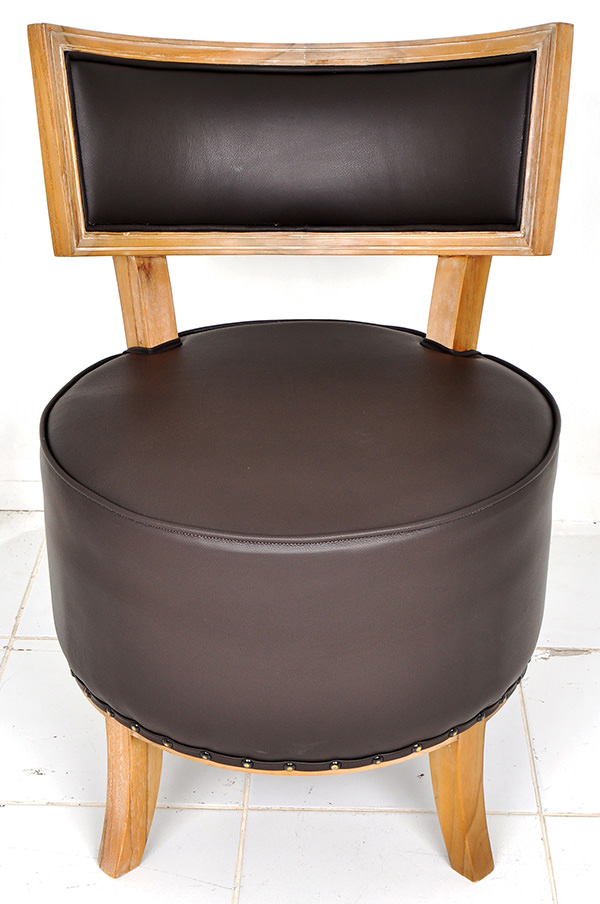 wood and leather lounge chair