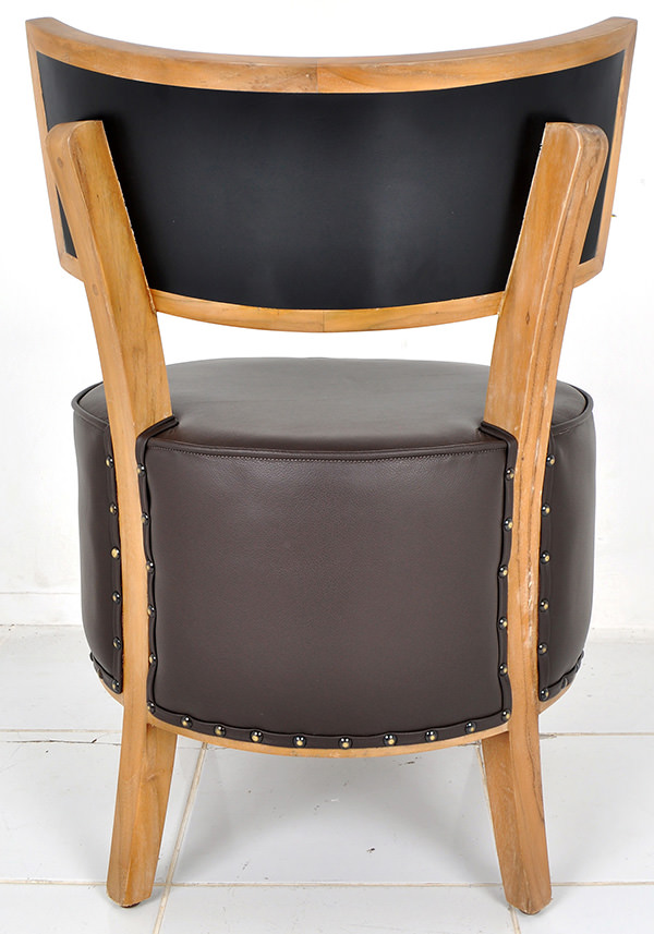 teak wood and genuine brown leather lounge chair