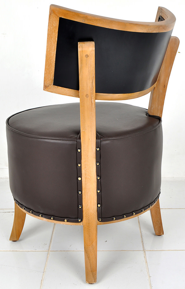 natural teak wood and genuine brown leather lounge chair