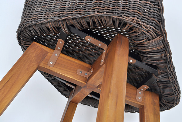 Solid teak and rattan