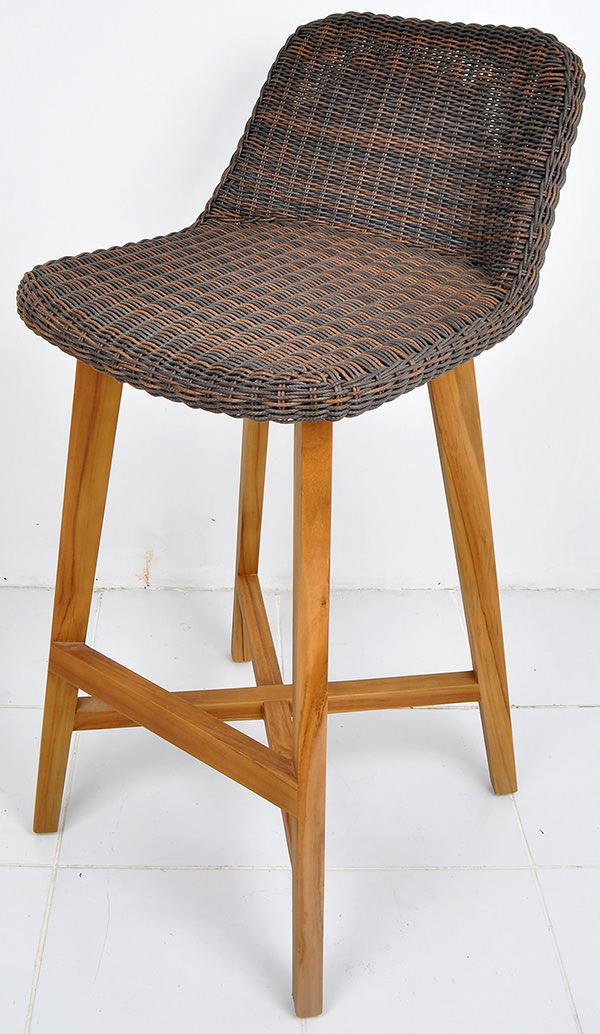 Danish design teak and rattan bar stool