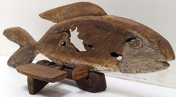 wooden fish standing reclaimed deco