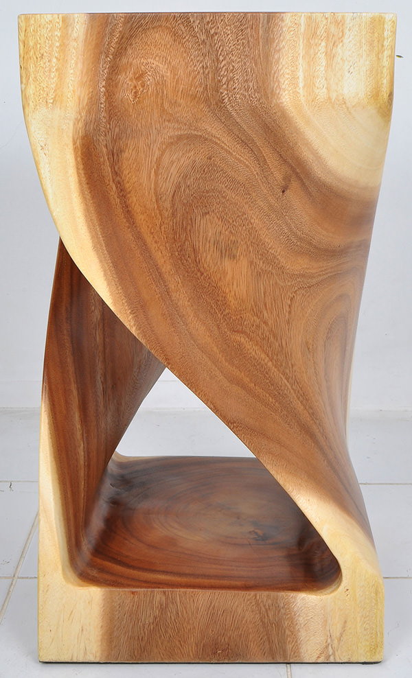 suar wooden twisted stool with natural color