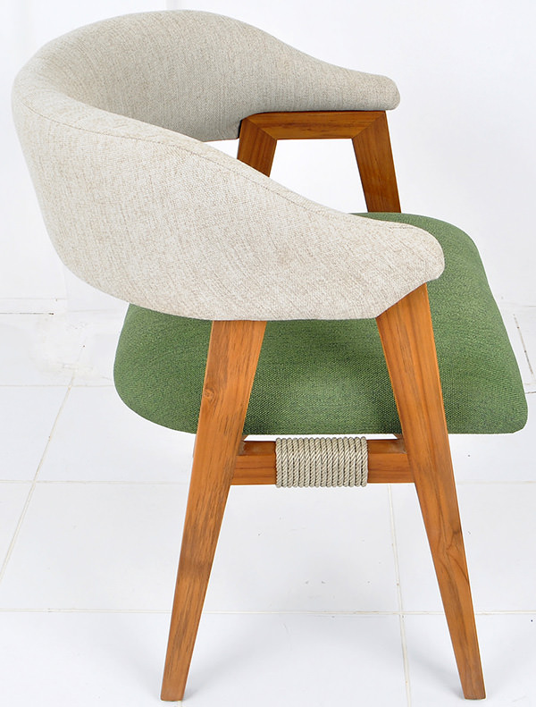 Dining armchair with green and grey linen upholstery