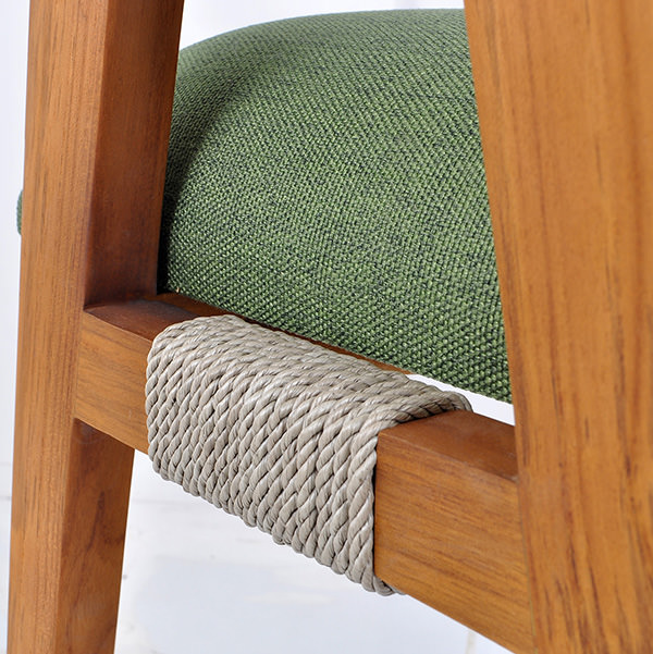 teak, rope and linen