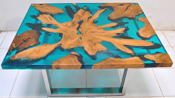 solid teak root and resin coffee table