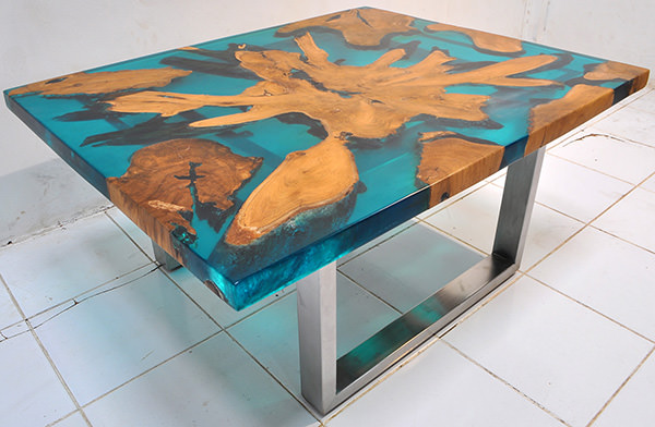 teak root and resin coffee table