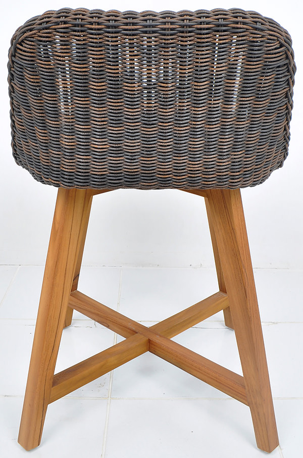 Outdoor synthetic rattan and solid teak chair