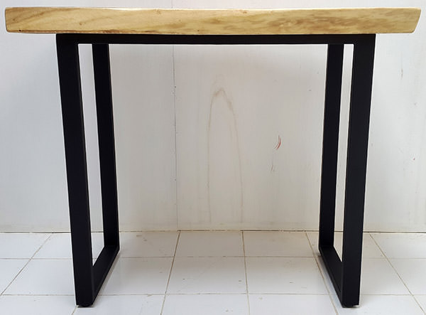 high solid rain tree console with black iron legs
