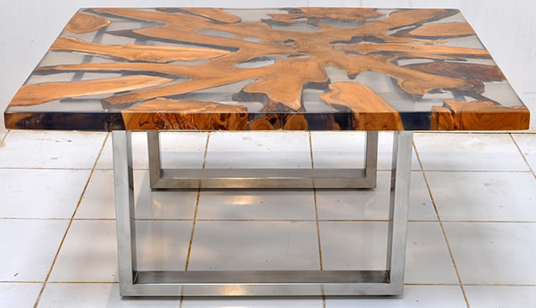 solid teak root and resin coffee table with square stainless steel legs