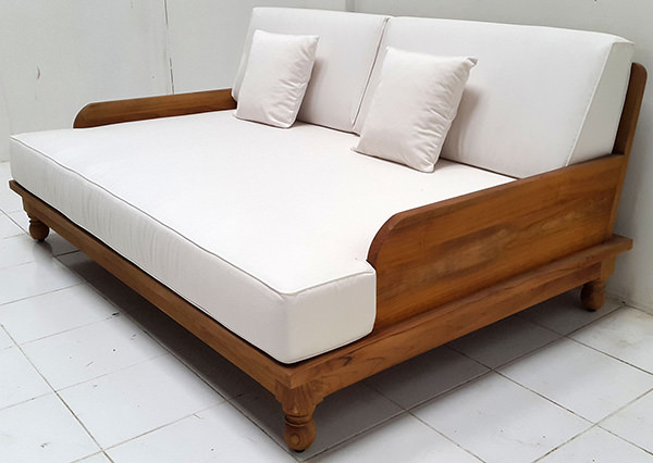 grade A teak garden daybed with natural finish with white mattress