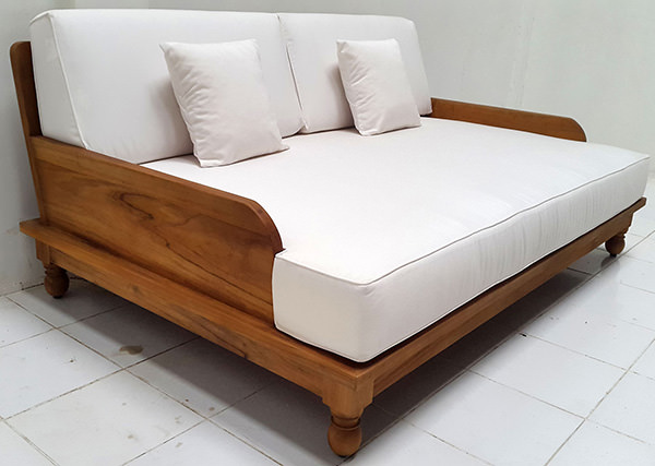 grade A teak garden daybed with natural finish with weatherproof white mattress