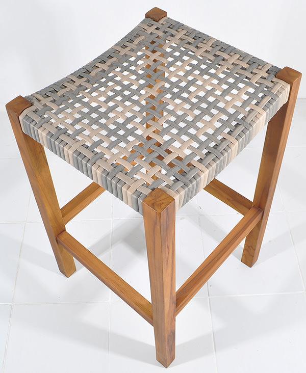 outdoor syntehtaic rattan and teak Danish stool