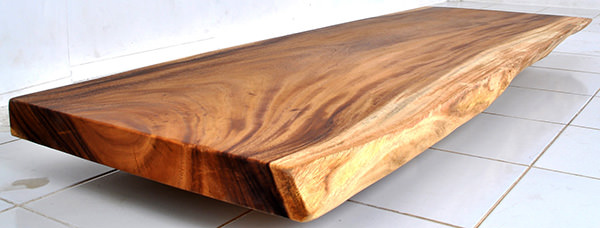 suar slab table top with natural finish