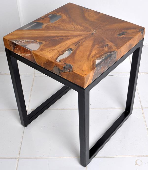 teak resin and iron coffee table