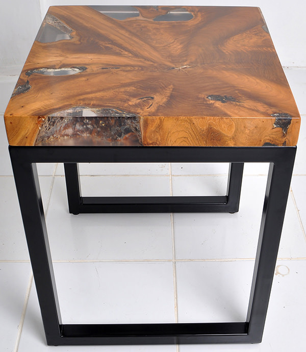teak resin and iron side table