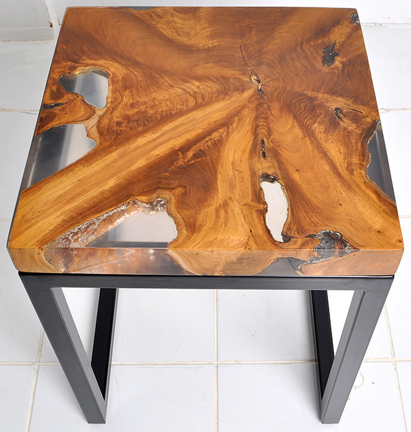 square teak root and resin side table