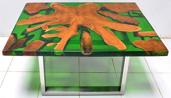 solid teak root and resin coffee table with square glossy stainless steel legs