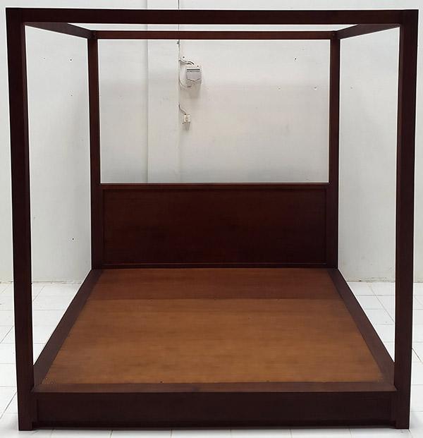 dark brown teak canopy bed set
