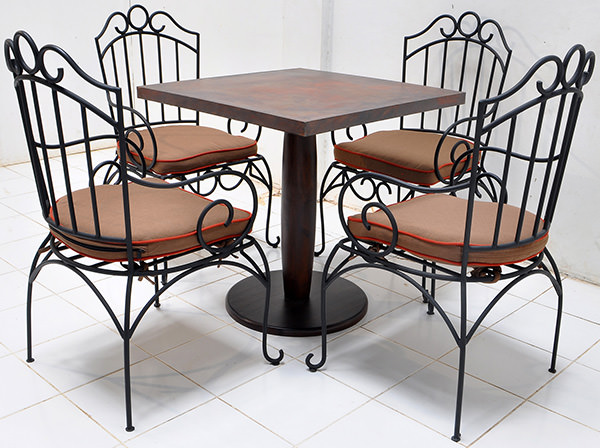 hospitality outdoor iron chair and copper table