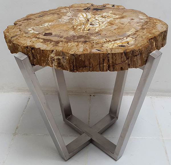 petrified wooden side table