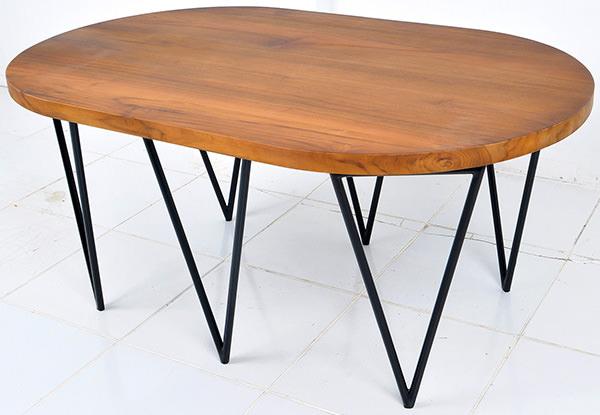 oval teak table