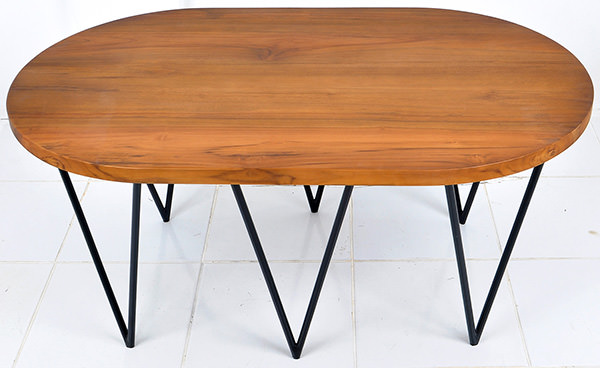 oval teak table with triangle iron legs