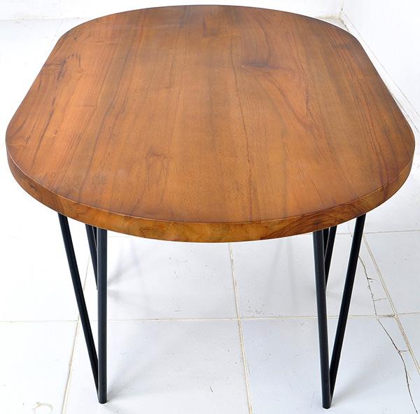 natural teak oval table