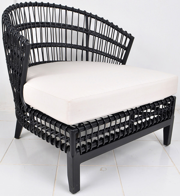 Danish aluminium and synthetic rattan garden lounge chair