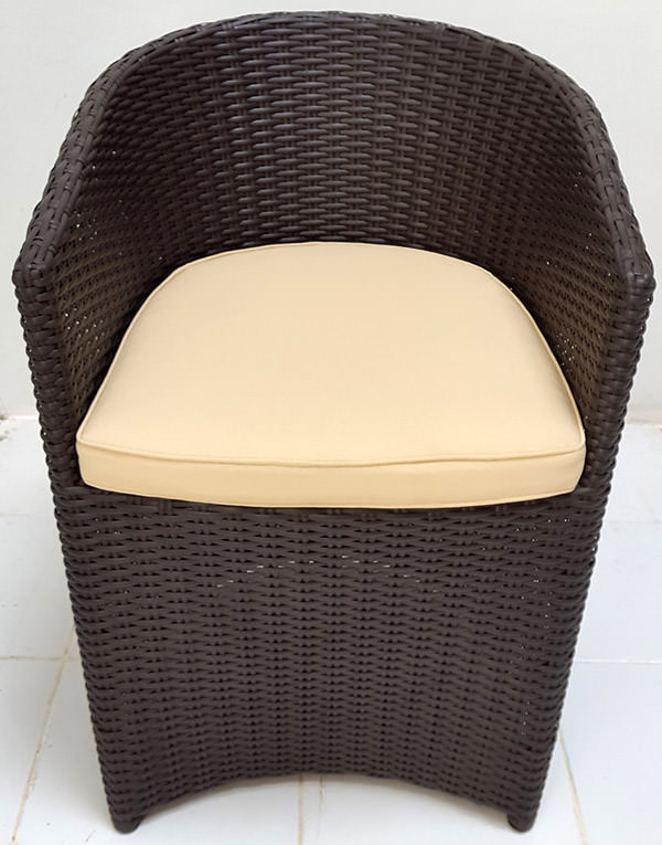black synthetic rattan armchair