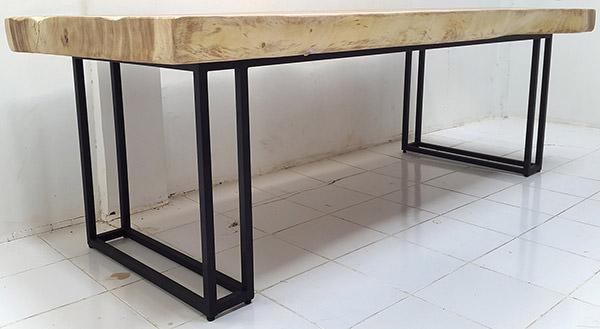 rain tree table with black iron legs