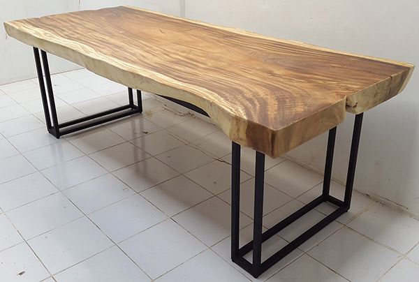 solid rain tree table with black iron legs