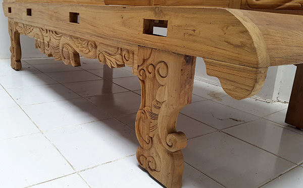 handmade carved teak bench