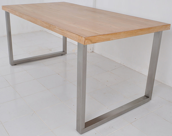 table with teak wood top and aluminium legs